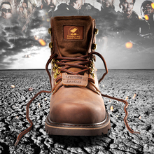 2017 Autumn Winter Full Grain Leather Rivet Men Boots Brown  Top Quality Genuine Leather Retro Mens Work Boots Male Casual Botas