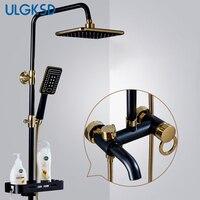 ULGKSD термостатический Ванная комната смеситель для душа черный и золотой набор для душа Ванная комната кран смесителя Para Ванна
