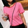 Summer Fashion Brand Design Mujeres Contraste de Color de Algodón Camisetas de Manga Corta Cuello de O Ringer Tees