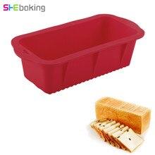 Shebaking 1pc 12*26cm Large Silicone Cake Pan 3D Rectangular Baking Fondant Bread Muffin Mold DIY Decorating Tools