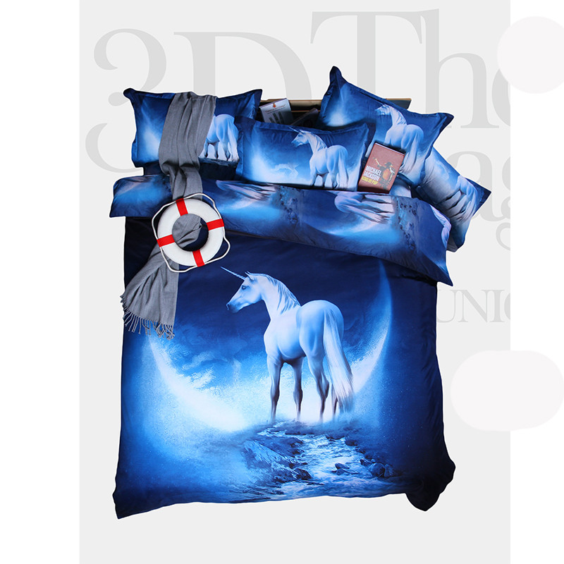 3D Printed Horse Outer Space Galaxy Bedding Set 4 pcs Queen Size Polyester Cotton (1 Duvet Cover 1 Flat Sheet + 2 Pillowcases)