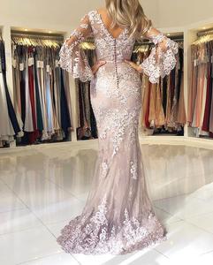 Image 2 - Vestidos de fiesta de noche Pink Muslim Mermaid Evening Dresses 2020 Lace applique Elegant Long платья знаменитостей