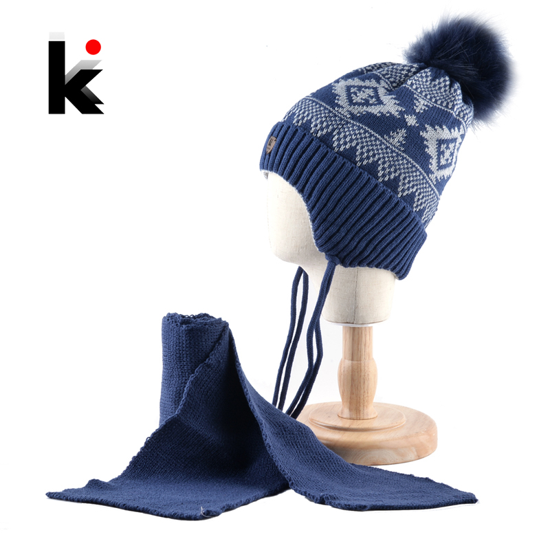 K Brand Winter Hat And Scarf Children Knitted Thick Beanie With Faux Fur Pompom Kids Warm Ear Flap Cap Boys Girls Lovely Hat Set