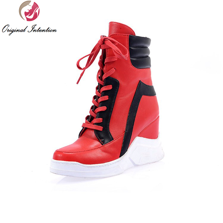 원래 의도 여자 발목 부츠 레이스 업 라운드 발가락 높이 증가 발 뒤꿈치 부츠 고품질 신발 여자 미국 크기 4 10.5-에서앵클 부츠부터 신발 의  그룹 1
