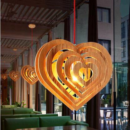 Modern minimalist heart-shaped art wood Pendant Lights Creative rural self-assembly lamp for bar&stairs&porch&corridor WYX003 southeast asia style hand knitting bamboo art pendant lights modern rural e27 led lamp for porch