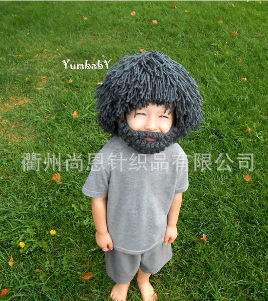 Handmade knitted hat fake beard cap Christmas gift for kids children beard hat Dreadlocks locks ras dreads JATA