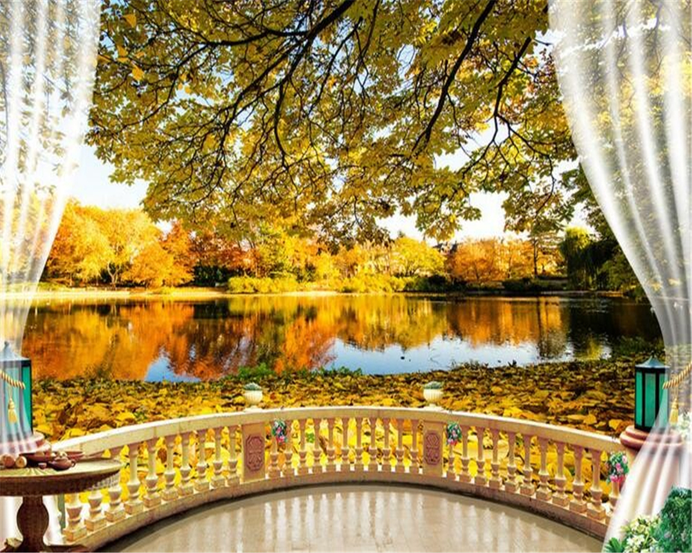 Beibehang Tree Shade Fall Foliage Balcony Background Home Decoration 3d Wallpaper Photo Living ...