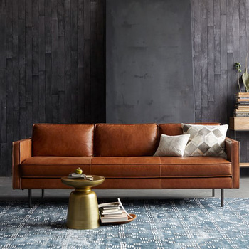 Post-modern light luxury sofa living room combination leather  leather minimalist customizable couch 1