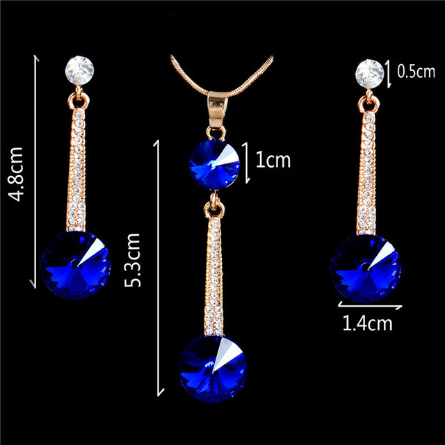 Gold Color Pendants & Necklace Stud Earrings Blue Natural Stone Cubic Zirconia Crystal Romantic Bridal Jewelry Sets 3