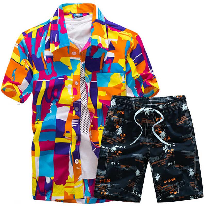 Мужские Гавайские рубашки, набор 2019, модные летние рубашки с цветочным принтом, мужские + пляжные шорты с рисунком, спортивный костюм с коротким рукавом, мужские комплекты ropa hombre