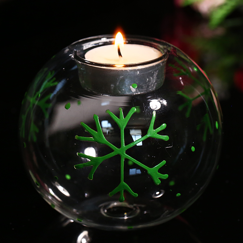 Creative Candle Tealight Holders Wedding centerpiece Candlestick with Green Snowflake Christmas Decoration Light Holder Freeship