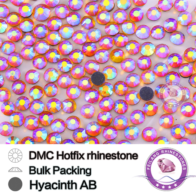 Hyacinth AB Size Stones and Crystals Strass Rhinestone DIY Bulking Packing HotFix Rhinestone For Garments Dress