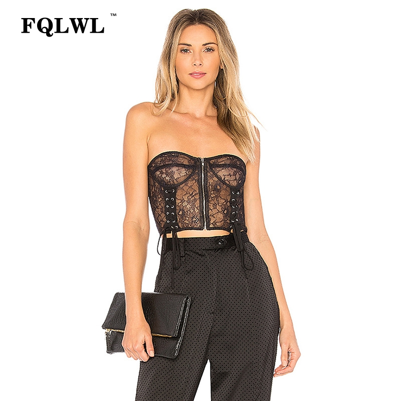 FQLWL Sexy Strapless Black Mesh   Tank     Top   Women See Through Zipper Sleeveless Backless Crop   Tops   Vest Camis Mujer Summer Lace   Top