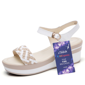 Image 2 - O16U Female Sandals Shoes Wedge Platform Leather Ladies Buckle Sandals High Heels Weave Strap Sandals For Women Summer 2017