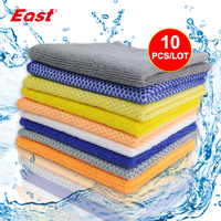 Life83 10pcs Microfiber Cleaning Cloth Non-Stick Oil Kitchen Towel Double Sided Dishes Washing Cleaning Appliances