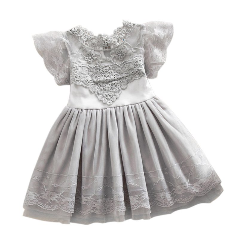 2-7Y Summer Toddler Girls Baby Kids Lace Tulle Dress Floral Princess Tutu Dress  J2