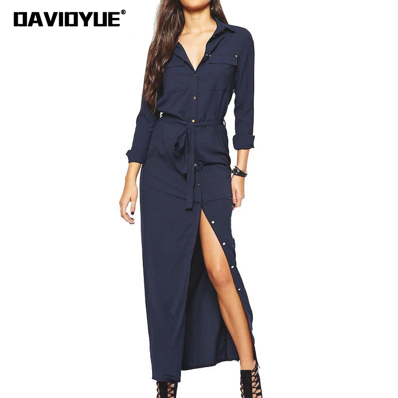 korean long sleeve maxi dress women winter dress sashes cotton long dresses Autumn sashes button office work shirt dress 2018