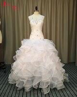 Jark Tozr New Arrival Vestidos De Noiva Crystal Embroidery Corset Ruffles Skirt White Princess Ball Gown