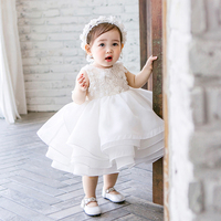 Infant Baby Princess Dress White Birthday Ball Gown Sleeveless Flower Girl Dress First Communion Dress for Little Girl E324