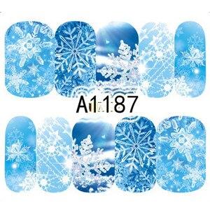 Image 2 - 12 Thiết Kế Trong 1 Mùa Đông Bông Tuyết Full Đeo Móng Tay Nghệ Thuật Chuyển Nước Miếng Dán Giáng Sinh Phong Cách Làm Móng Decal DIY BEA1177 1188