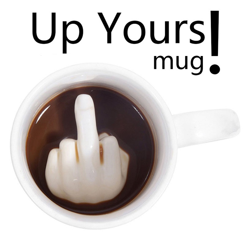 Middle Finger Funny Mug Creative Coffee Mug Ceramic White Taza Ceramica Cup Personal Office Personality Porcelain 3D Tumbler taza de m&m