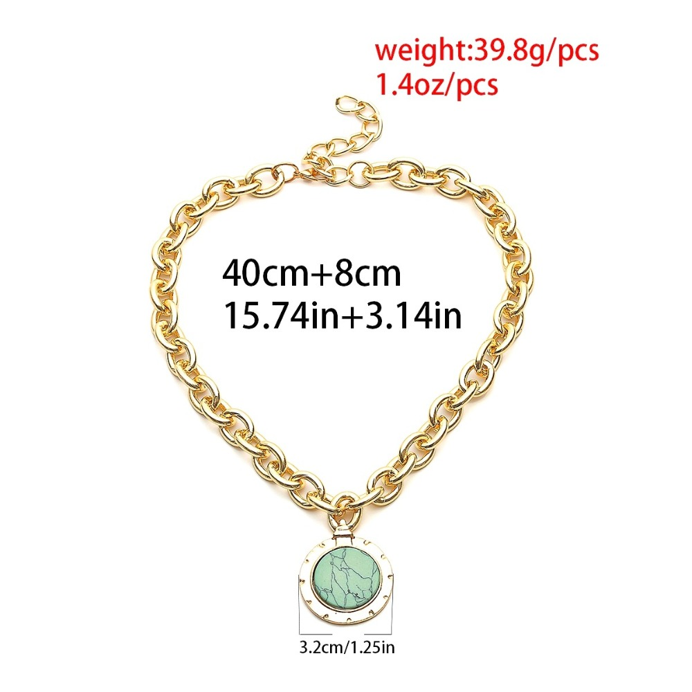 KMVEXO European and American Fashion Gold Color Temperament Round Resin Statement Vintage Chain Bib Necklaces 19 New 11