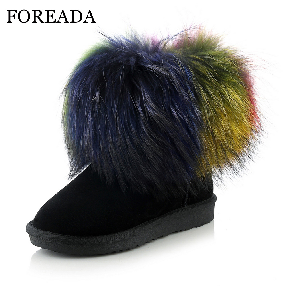 FOREADA Women Snow Boots Genuine Leather Winter Ankle Boots Raccoon Fur Suede Boots Warm Plush Shoes Platform Flats Big Size 43 women s winter genuine leather platform boots faux fur mink hair shoes black shoes size 34 40 wb010