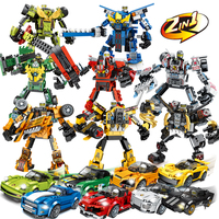 Technic City Super Racers 2in1 transformation robot Speed Champions Supercar Racing Car Building Blocks Bricks legoingly Toys