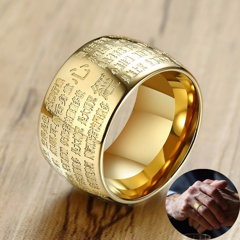 12 MM Wide Buddha Scriptures Men Dome Ring Stainless Steel The Heart Sutra Of Prajna Paramita Male Jewelry