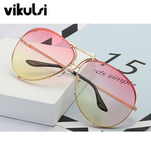 2018 Oversized Aviator Sunglasses Women Brand Shades Reflective Mirror Sunglasses Big Pilot Sun glasses For Female Men Clear Red