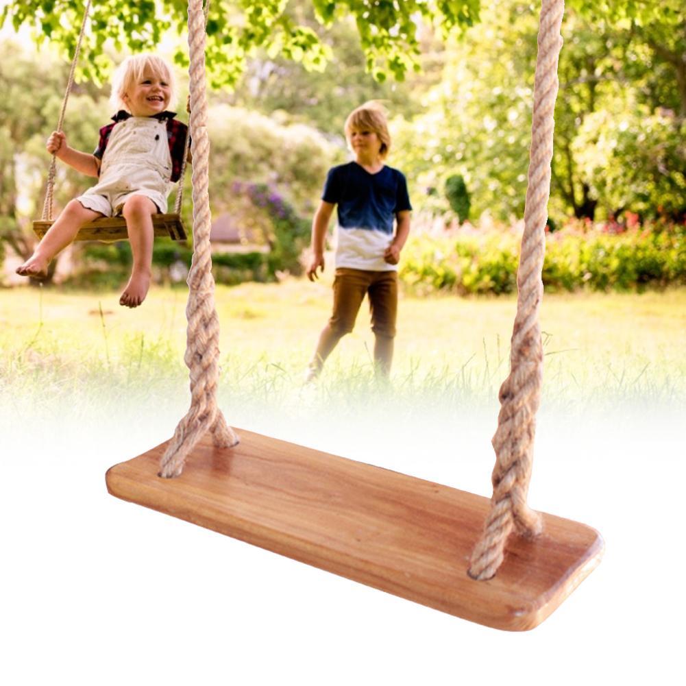Balançoire en bois solide pour enfants adultes Anti-corrosion avec jouets en corde tressée multicouche pour enfants balançoires de jardin en plein air