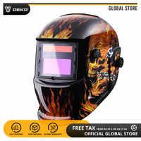 DEKO Welding Mask Skull Solar Auto Darkening Adjustable Range 4/9-13 MIG MMA Electric Helmet Welding Lens for Welding Machine