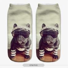 3D Digital Printed Animal Cat Dog Women Socks Unisex Fashion Cute Short Sock Mix Color Women Low Cut Dress Sock