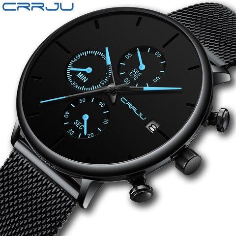 CRRJU Fashion Date Mens Watches Top Brand Luxury Waterproof Sport Watch Men Slim Dial Quartz Watch Casual Relogio Masculino Islamabad