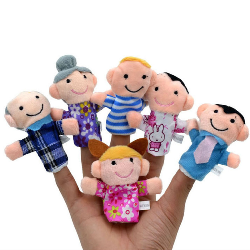 Happy Family!! 6pcs/lot Family Members Finger Puppets Baby Infant Early Educational Plush Toys