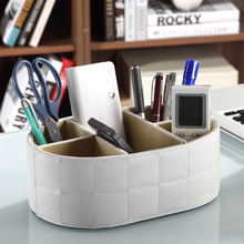 PU Leather Remote Control Phone Holder Storage Box