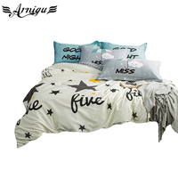 Fashion Print Stars Bedding Set 3pcs Kids Adult Cotton Bedlinen Single Twin Queen Double King Size