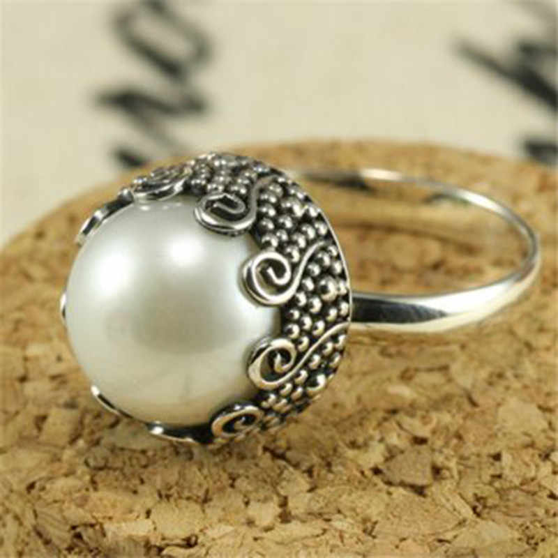 Vintage Pearl Ring Bohemia Antique Silver Rings for Women Wedding Engagement Luxury Ring Jewelry Bague Femme Anel Z3Q933