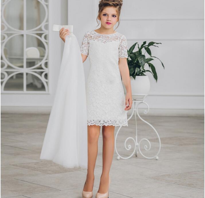 Dentelle blanche 2 Pièces robes De fille De Fleur pour Les Mariages Enfants Taille 2 3 4 5 6 7 8 9 10 11 12 13 14 15 16 ans adolescents