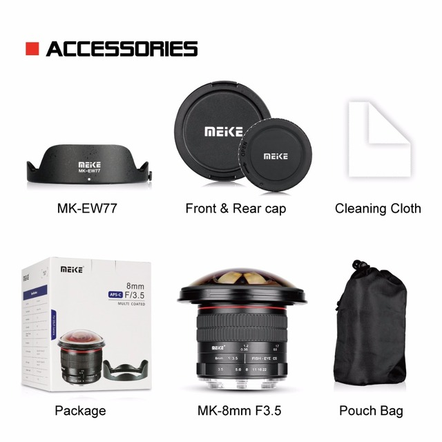 Meike 8mm f/3.5 Ultra Wide Fisheye Lens for All Canon EOS EF Mount DSLR Cameras with APS-C/Full Frame+Free Gift