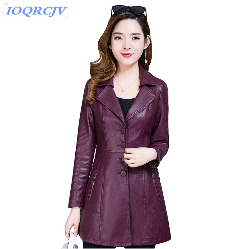 New Leather jackets for women 2018 spring autumn Boutique PU Leather tops Plus size 4XL Slim lady Windbreaker coats IOQRCJV N074