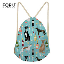 FORUDESIGNS Greyhound Black Pet Linen Drawstring Bag Travel Women Small Cloth Storage Backpack 3D Printing Christmas Gift Pouch