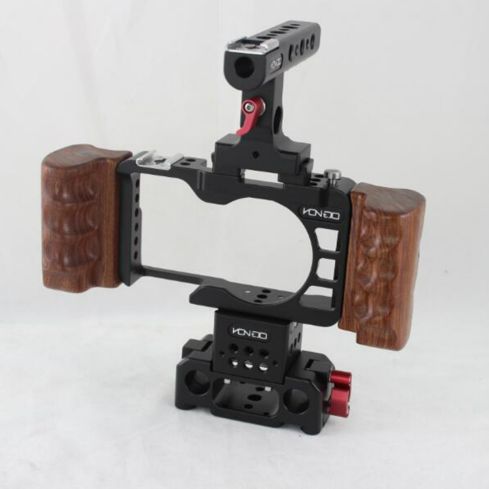 NEW 15mm A6300 Rig Kit Wooden handle handgrip Baseplate Cage Quick Release top handle for SONY A6300 camera handheld rig