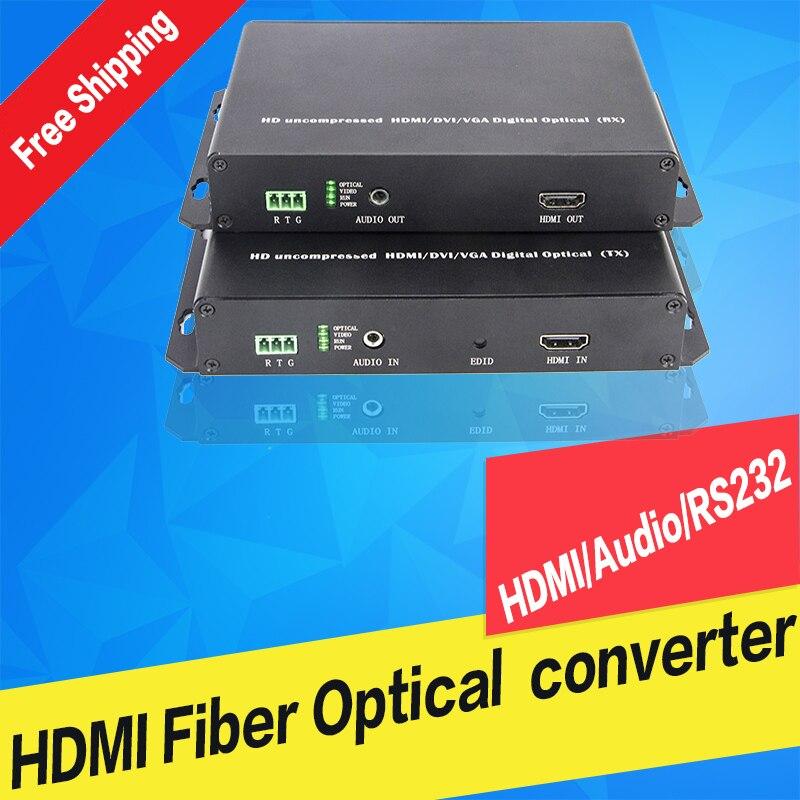 1080 P HDMI оптоволоконный удлинитель распаковки видео одиночный режим Single Fiber 10 km передатчик приемник аудио RS232