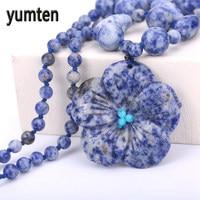 טבעי תכשיטי רובי חן פופולרי פרח שרשראות & תליוני נשים פורצלן כחול DK כחול-Veinstone ketting מתנה יפה