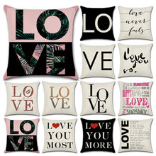 SBB Hot Sales Fashion Love Letter series Printed linen Cushion Cover Geometric Decorative Sofa Throw Car Home Decor Pillow Case
