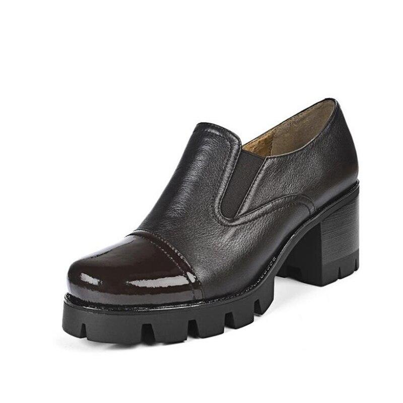 Lid002 Cuir Chaussures Suede Femmes En Taille Automne black black Plate Brown Bleu Véritable Russie Talon Muyisexi Printemps forme Noir Carrée Matures blue Classique Pompes Leather EqTSCwC