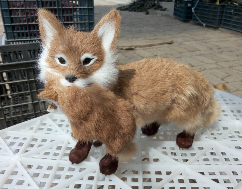 simulation cute mother and child foxes 35x22cm model polyethylene&furs fox model home decoration props ,model gift d450 new simulation red fox toy polyethylene