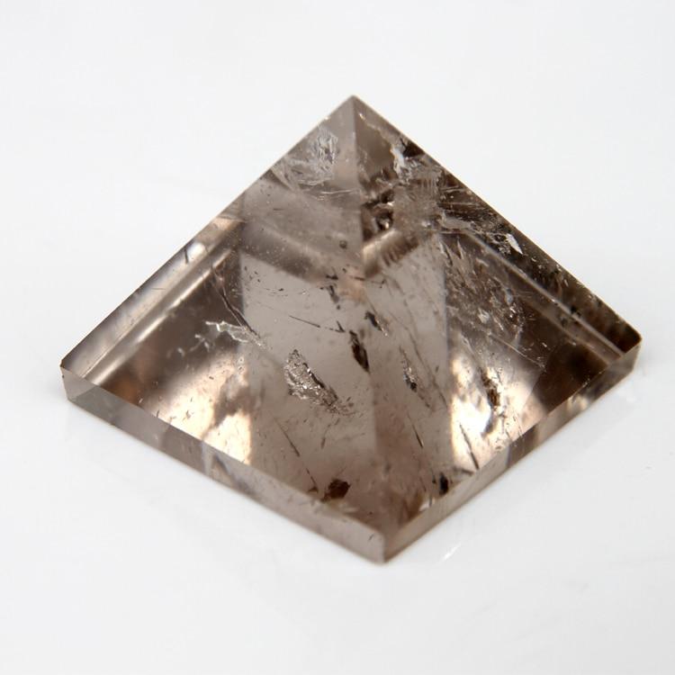 2015 Smoky Quartz Citrine crystal rock Graveeritud 30mm 1.2inch Pyramid Carved Stone Chakra Stones Tervendav Reiki Tasuta kohaletoimetamine