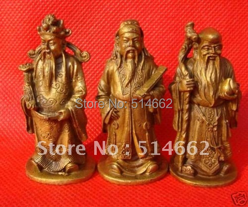 Brass Feng Shui Fuk Luk Sau Health Wealth and Prosper